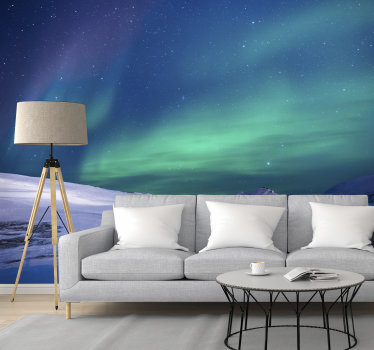 This gorgeous sky wall mural of a picture of the northern lights will look great in your living room, or even bedroom. Easy to apply.