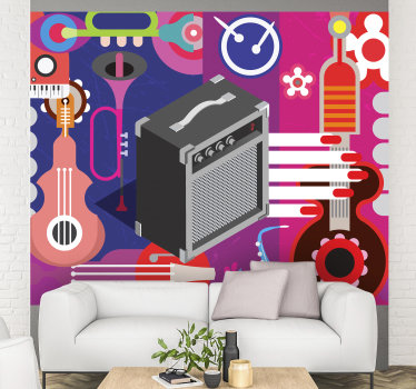 Complete your love for this style of music by taking this adhesive wall mural in your home on which different musical instruments are depicted.