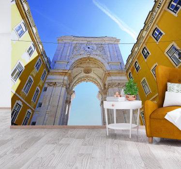 Esse fotomural decorativo de cidades mostra o Arco da Rua Augusta, um edifício histórico de na Praça do Comércio, em Lisboa.