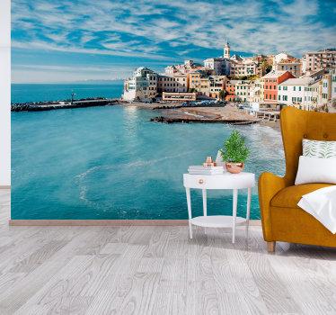 Apportez un look grec à votre maison et placez cette murale grecque à votre place d'une présentation bleu clair de la mer de santorin.