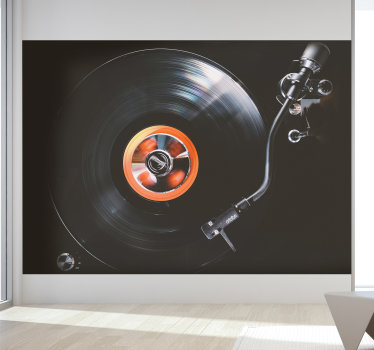 On this large wall mural you will find a dark display of a vinyl record being played back.Make your home better with this beautiful design