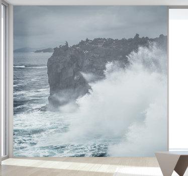 Belo fotomural decorativo do mar com uma imagem das ondas na costa açoriana para decorar a sua sala de forma exclusiva.