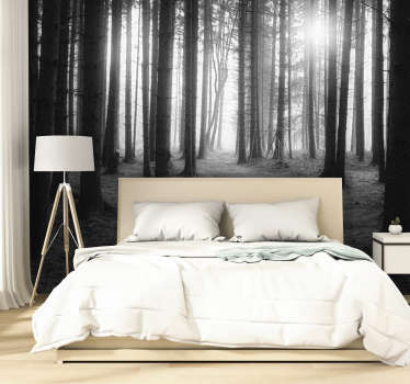 Grey forest wall mural