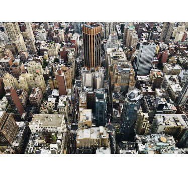 This  Aerial City photo wall mural showing the busy buildings, will make your home complete! This wall mural is of very high quality with matt finish.