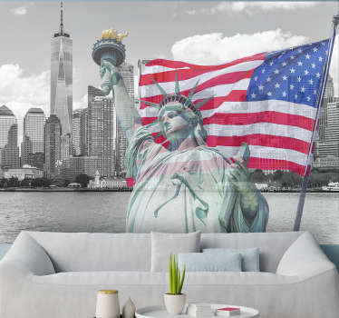 This stunning photo wall mural shows the american flag in all it's glory with the skyline of New York in the background, perfect for your home!