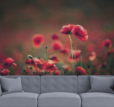 Enjoy the beautiful finish that this flower wall mural will give to your walls and the imagination that it will give you, that you are among them.