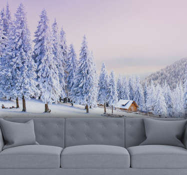 With this forest scene wall mural you can bring the snow to you. It is of very high quality with matt finish, and it does not reflect the light.