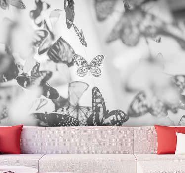 Forget about boring walls with this animal wall mural full of butterflies flying around your wall. Colours will match with any furniture you have!