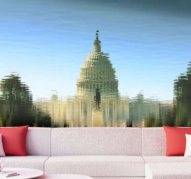 Order this giant wall mural with capitol seen in the reflection of water that will make you find peace and calm. High quality image!