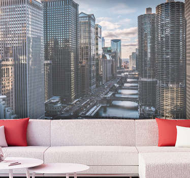 Order a fantastic city wall mural that presents Chicago city seen from aerial perspective. Great way to redecorate your living room.