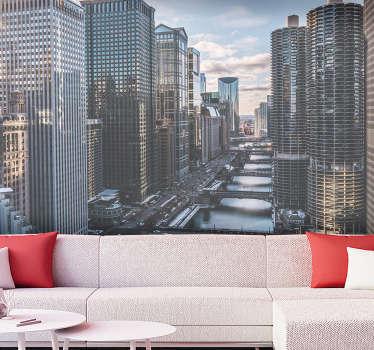 Bestel een fantastische stadsmuurschildering die de stad Chicago vanuit luchtperspectief presenteert. Geweldige manier om uw woonkamer opnieuw in te richten.