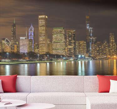 Nuestro moderno fotomural ciudad de Chicago de ncohe con reflejos en el lago Michigan es perfecto para tu renovar tu casa ¡Envío a domicilio!