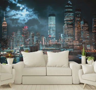 Look at this beautiful photo mural of the New York high buildings that gives a beautiful look in the evening. High quality material.