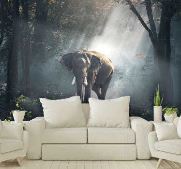 This beautiful forest wall mural shows images of an Elephant in the forest on his own, and therefore definitely something you can't miss!