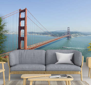 Este fotomural del puente Golden Gate dará un acabado hermoso y único a las paredes en las que querrás pasar todo el día mirando