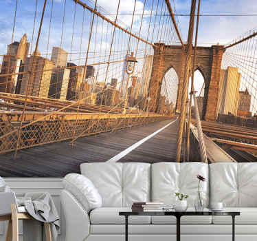 With this original Inside Brooklyn Bridge New York wall mural, you can turn any room into a special space where you'll want to spend hours.