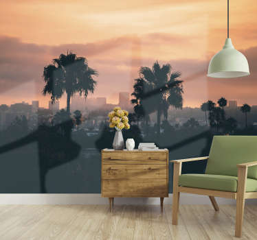 Spectacular city wall mural with sunset in Los Angeles. This is the fastest and cheapest way to redecorate your living room or bedroom!