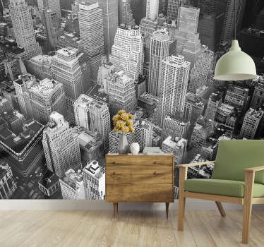 Beställ new york stadsväggmålning visar flygpanoramaet från olika skyskrapor som är en symbol för denna aldrig sovande stad!