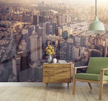 Take a look at this beautiful aerial mural of New York's tall buildings that gives a beautiful look in daylight. High quality material.
