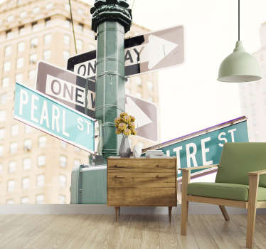 With this New York Road Sign wall mural you can renew the desired room and give it a new look. Don't worry if you've never had photo murals before.