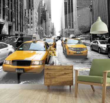 Travel to the crowded streets of New York without leaving the comfort of your home with this fantastic New York wall mural.