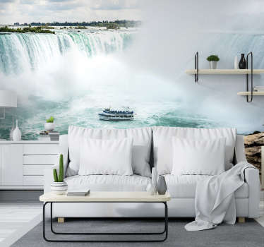 This beautiful and unique Niagara Falls photo wallpaper, is showing a boat between the flowing water. Our wallpaper is made of high quality materials.