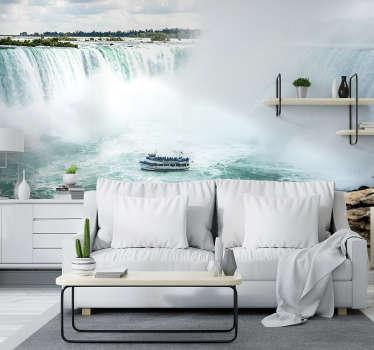 Ce beau et unique papier peint photo des chutes du niagara, montre un bateau entre l'eau qui coule. Notre papier peint est fait de matériaux de haute qualité.