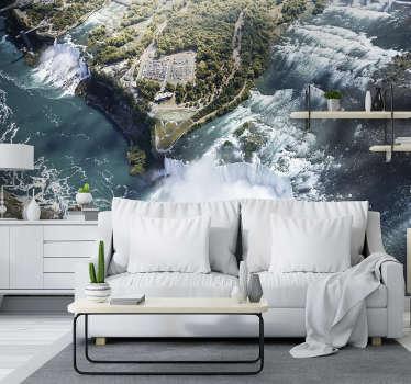 Com este lindo e exclusivo fotomural de parede de cascatas do Niagara, pode criar o acabamento apropriado para suas paredes.