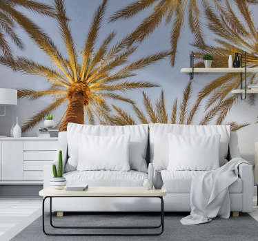 Tropical beach with palm tree landscape wall mural design is a one stop for your home decoration! Extremely long-lasting material.