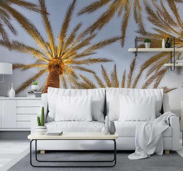 Trooppinen ranta palmujen maiseman seinämaalausmuotoilu on yksi kohta kotisi sisustukseen! Erittäin kestävä materiaali.
