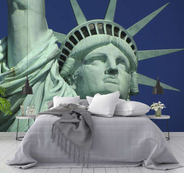 With this statue of liberty face New York photo wallpaper you can renovate the room you want and give it a new look. A high quality material.