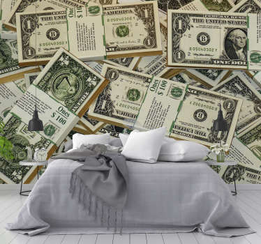 Spectacular modern wall mural with US dollar bills, an original way to decorate the walls of your home! Personalized sizes.