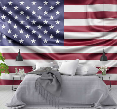 Large wall mural with a flag of USA waving in the wind will be perfect for your house. Choose the size you need for your walls!