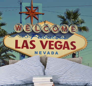 City wall mural, with the Las Vegas welcome sign, will be able you to have an entrance to this fantastic place without having to leave the house.