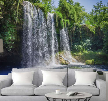 This photo wallpaper gives you a beautiful view of a Waterfall in the city of Antalya. Relax with this beautiful waterfall wallpaper on your walls.