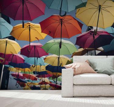 Excelente fotomural para sala de estar com uma imagem dos guarda-chuvas coloridos de Águeda que ajudarão a celebrar a beleza da vida! Imagem de alta qualidade.