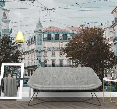 Dê uma olhada neste belo fotomural decorativo de lugares com uma imagem dos edifícios característicos da Baixa-Chiado de Lisboa ficará incrível na sua sala de estar.