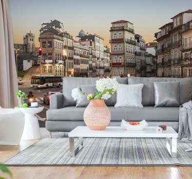Esqueça as paredes chatas com este impressionante fotomural decorativo de cidades das ruas do Porto. As medidas são personalizáveis.