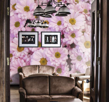 Decorate your home with our pink daisies photo wallpaper, and add a touch of joy to the walls of your home. Who wouldn't be happy with flowers?!