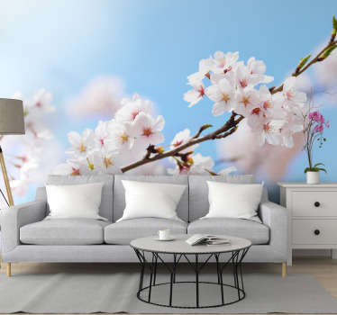 Make a difference on the walls of your home with our white cherry blossom photo wallpaper. Our modern wallpaper is made of high quality materials.