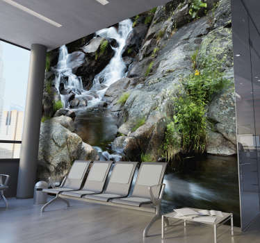 A stunning landscape wall mural depicting a gentle stream. Printed with high definition images, so clear you can almost hear the soft trickle of water
