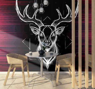 This photo wallpaper shows a stunning photo with the drawing of an abstract stag with big antlers. The application is fast and easy!