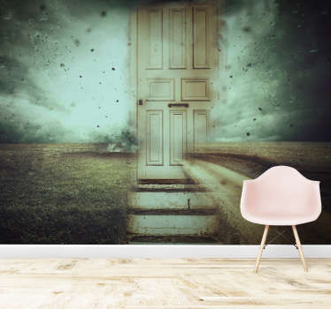 Do you love decorations that have a mystical  vibe? This abstract photo wallpaper with a door in a stormy landscape is perfect for you!