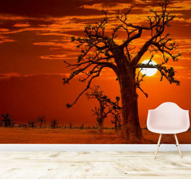 A gorgeous view for a wall: This African landscape wall mural shows you a fantastic scenery with the warm red colours of a sunset.