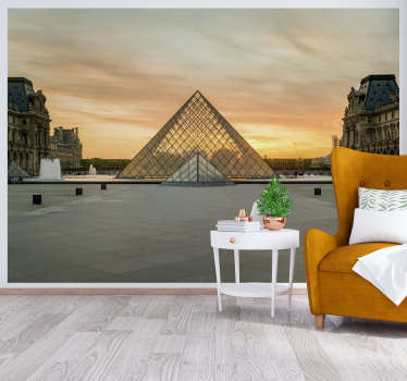 Fantastic Paris skyline wall mural presenting one of the most important city's landmark: Louvre Museum. High quality image and matte finishing!