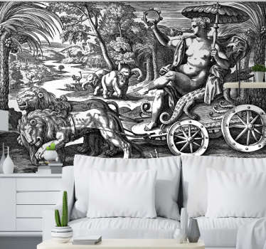 Unusual classic art wall mural with a vintage jungle full of different kinds of animals. Choose any size you want and enjoy free delivery today!