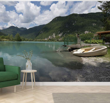 Beautiful mountain wall mural with a lake under the cloudy sky is perfect for your bedroom or living room. Free delivery!