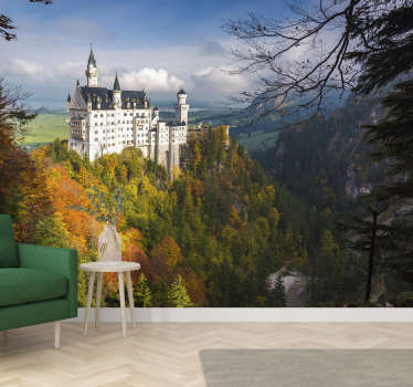 Exceptional scenery wall mural with this famous Neuschwanstein castle. Made out of high quality matte material. Free delivery!
