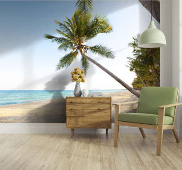 Life is better under the palms, so order this landscape wall mural showing a beautiful beach, with blue water and lovely palms. Free delivery!