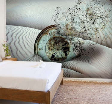 Photo murale du désert avec une horloge se dissolvant dans le sable. Réveillez votre décoration et changez votre intérieur !